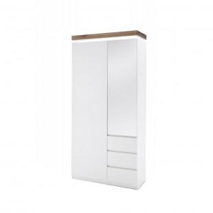 Szafa garderobiana biała + dąb lity FELICJA  91/38/198 cm