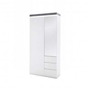 Szafa garderobiana biała wieniec optyka betonu MALTA   91/38/198 cm