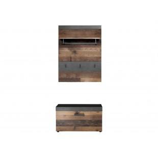 Zestaw garderobiany INDIA folia drewno postarzane 80/37/192 cm
