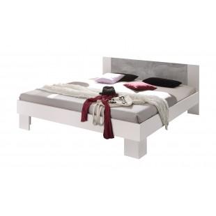 Łóżko MAVERIK białe z aplikacją w optyce betonu 160/200 cm