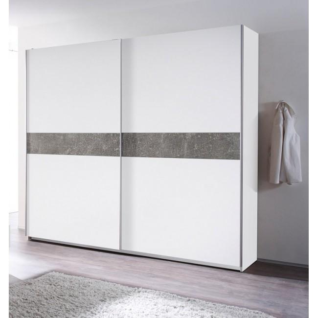 Szafa MAVERIK biała z aplikacją w optyce betonu 215/62/210 cm