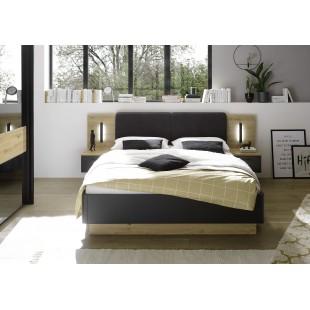 Łóżko STARK antracyt + dąb Artisan z szafkami i oświetleniem LED 160/200 cm