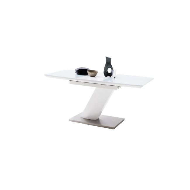 Stół rozkładany GALIA lakier biały połysk + szkło, dwa rozmiary