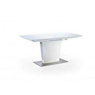 Stół biały rozkładany Johan - lakier/ szkło mat biały 160 (210) /76/ 90 cm
