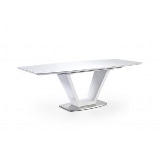 Stół rozkładany Kola- lakier połysk / szkło białe 160 (220) /76/ 90 cm