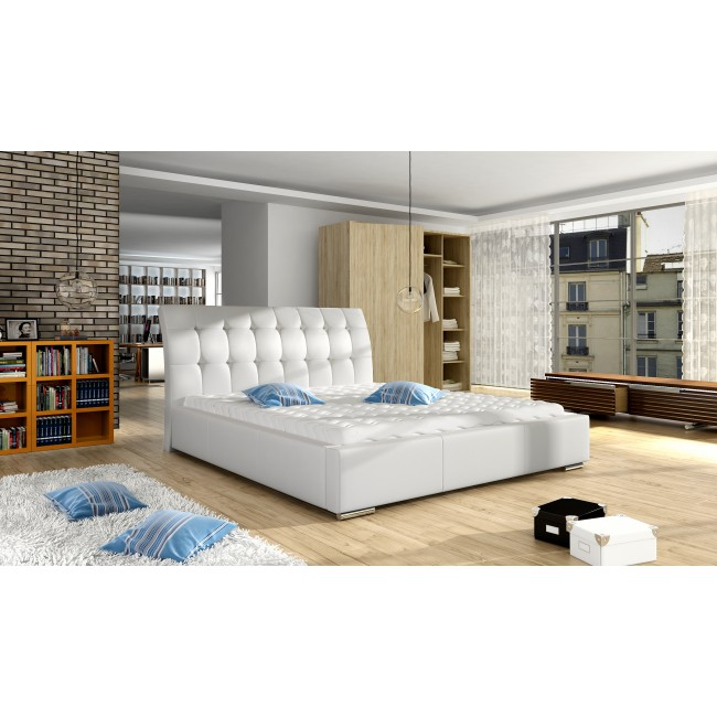 Białe łóżko tapicerowane Julia - polibox