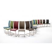 Krzesło PAUL I  na płozie, stal szlachetna szczotkowana, dziewięć kolorów ekoskóry