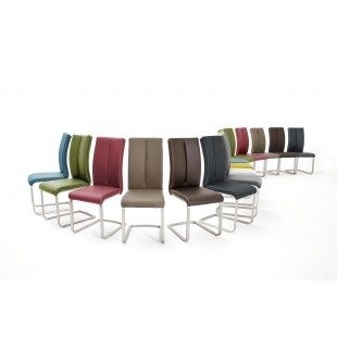Krzesło PAUL II na płozie, stal szlachetna szczotkowana, dziewięć kolorów ekoskóry