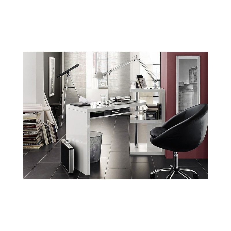 Biurko nowoczesne białe wysoki połysk ATIS 11550 cm | Sklep